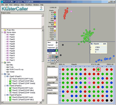 KlusterCaller genotyping results